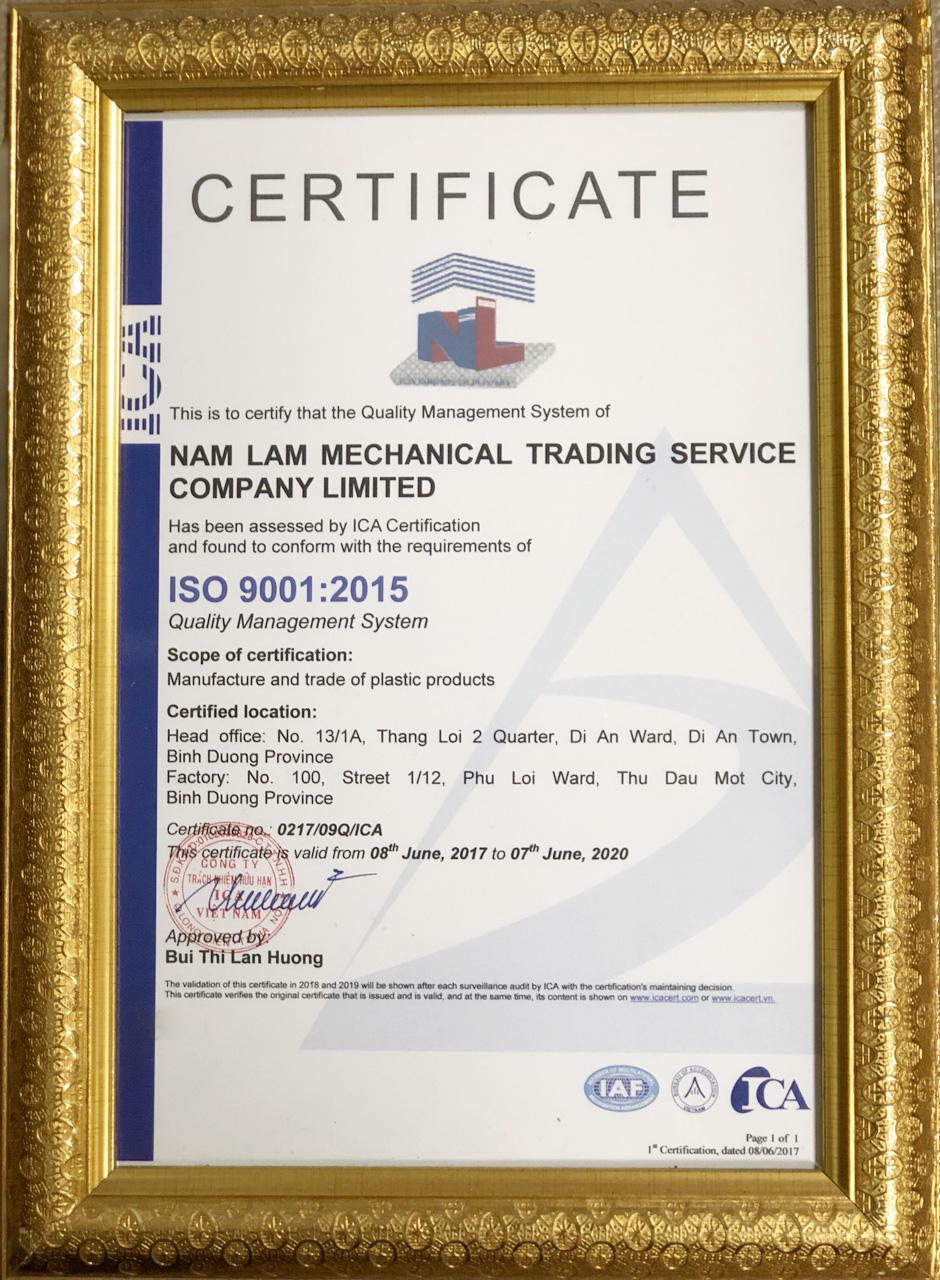 chứng nhận iso công ty Nam LÂm